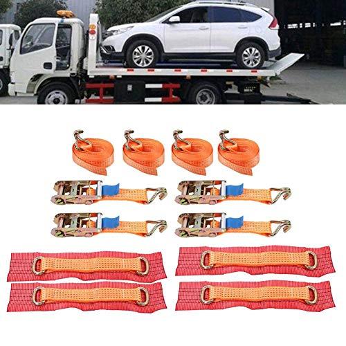 Set van 4 spanbanden voor wielen van legering voor aanhangers, professionele ratelriem met beschermkussen, sjorriem met bandenspanner, oranje