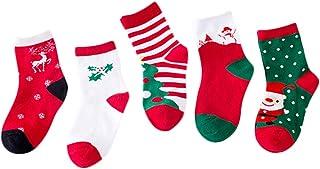 Kanggest. Set de calcetín de Navidad de 5 Pares, Calcetín de diseño de calcetín de algodón Premium para Invierno,Calcetines Invierno Bebe Media de Navidad niños 3~5 años
