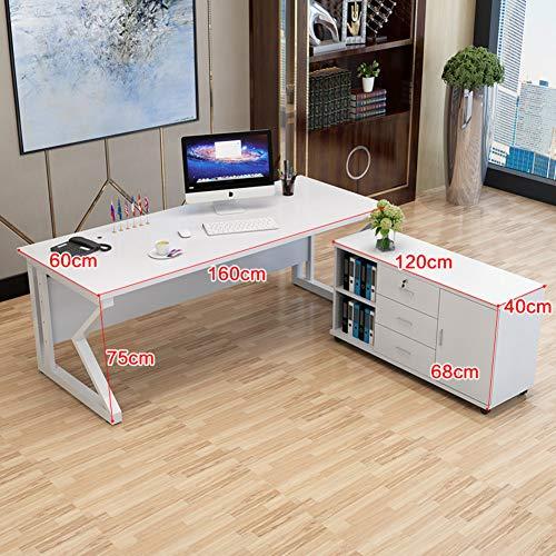 JiaQi Grande Oficina Jefe Desk,Simple Moderno Tabla De La Computadora con El Gabinete De Almacenamiento,Multiusos Rígida Amplias Computadora De Escritorio-h 160x60x75cm(63x24x30inch)