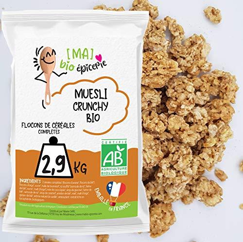 [Ma] bio-épicerie | Muesli Crunchy BIO | 2,9 Kg | Sachet vrac | Certifié biologique | Céréales complètes riches en fibres | Croustillant et gourmand