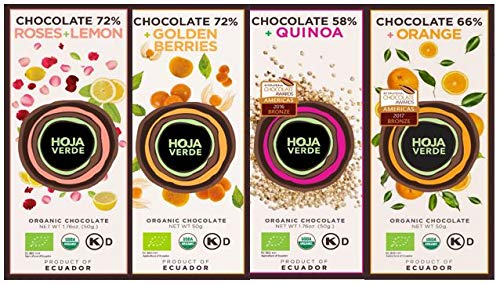 "Sortimentskarton HOJA VERDE - Bio-Schokolade (ROSES+LEMON, GOLDEN BERRIES, ORANGE, QUINOA) in Gourmet-Qualität, Hochgenuss aus bestem ecuadorianischem Cacao ""Arriba"", fair gehandelt"