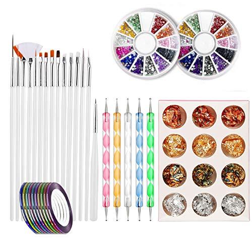 Kit de manucure à faire soi-même avec 20 brosses à ongles, 2 boîtes de 10 bobines de 10 couleurs, 4 couleurs de feuille d'or blanc