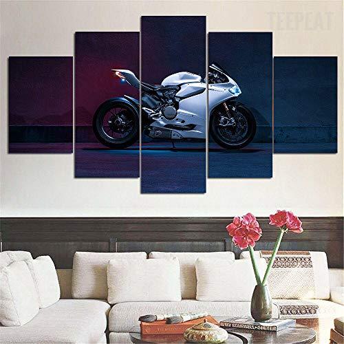 Cuadro en Lienzo Impresión de 5 Piezas Impresión Artística Imagen Gráfica Decoracion de Pared Bicicleta Deportiva Ducati Panigale 1199S Enmarcado