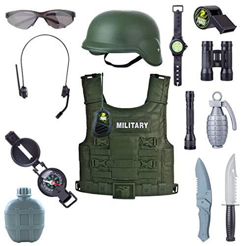 PHYNEDI Kinder Militär Rollenspiel Set, Kostüm Armee 14tlg Battle Ausrüstung Inkl. Weste, Walkie-Talkie Karnevalskostüm für Kinder Junge