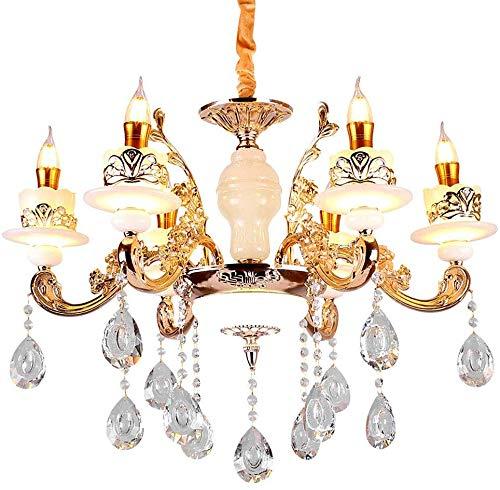 XQY Haushalt Kronleuchter, Neuheit-Beleuchtung, Kronleuchter Kreative Kerze Kristallbeleuchtung Europäische Zink-Legierung Jade Kronleuchter Wohnzimmer Esszimmer Schlafzimmer Lampen,6