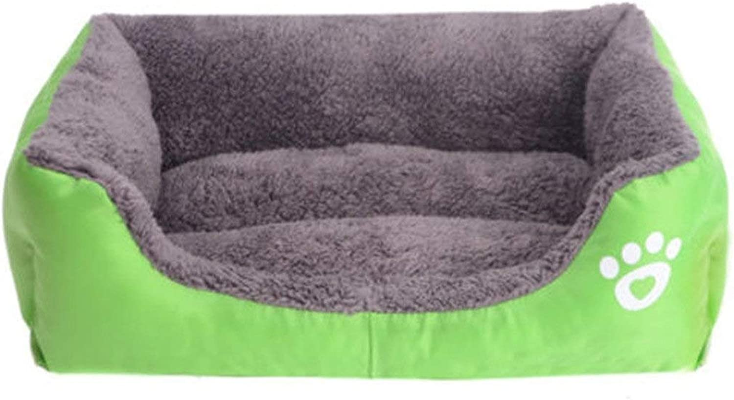 MUMUCW Dog Bed Washable, Cat Bed Pet Bed Small Pet Bed Mattress Pillow Cushion Soft Warm Prime Cotton Bed with Cute Image (color   GREEN, Size   Xl)
