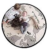 Blanketswarm Spielmatte mit Weltkarte, dünnes Leinen, weich, rund, Durchmesser 104 cm