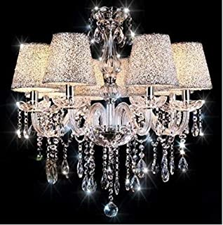 Chandeliers, Crystal Glass Chandelier Pendant Ceiling Lighting Fixture with Silver Lampshade for Dining Room, Living Room, Bedroom and Study Room Need 6 Pcs E12 Led Bulbs (Not Included)