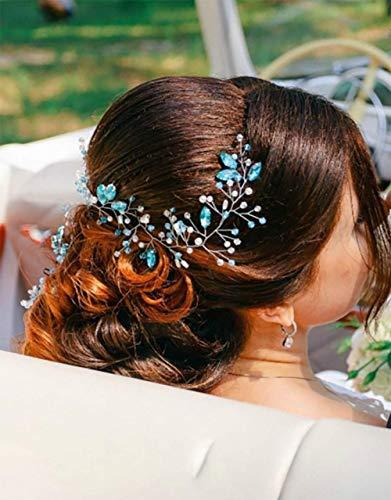 Deniferymakem, accesorio para el pelo azul para novia, diadema de boda extra,...