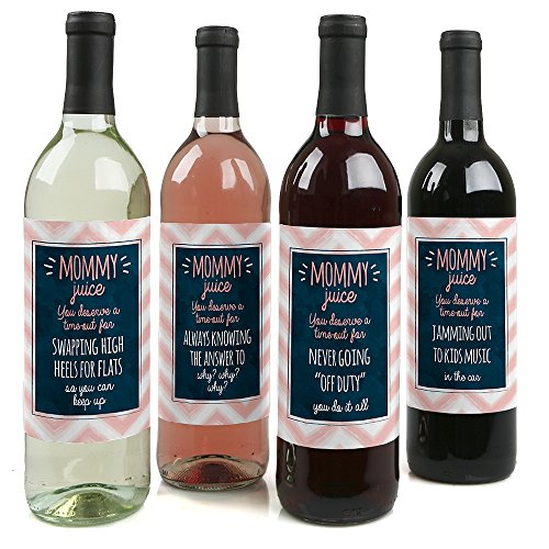 Mommy's Time-Out - Gift For Women - Wine Bottle Label Stickers - Set of 4