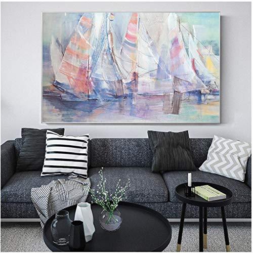 Moderno arte abstracto carteles y reproducciones, arte de pared acuarela sobre lienzo barco, pinturas decorativas para sala de estar, 50 x 70 cm (sin marco)