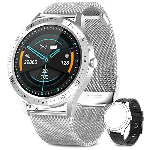 AIMIUVEI Smartwatch, Orologio Fitness Uomo Cardiofrequnzimetro da Polso Contapassi e Calorie Impermeabile IP67 Cronometro Smart Watch, Activity Tracker per Android iOS Argento