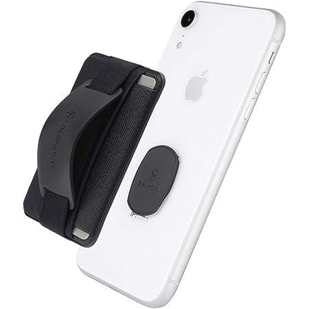 Sinjimoru 無線充電対応 スマホスタンドカード入れ、専用マウントで固定するカードホルダー SUICA IDカードなど3枚のカード収納できる着脱可能カードケース、落下防止 ハンドストラップにどこでも楽に動画 視聴できるスタンド機能付きiPhoneカードケース。Sinji Mount B-Grip, ブラック