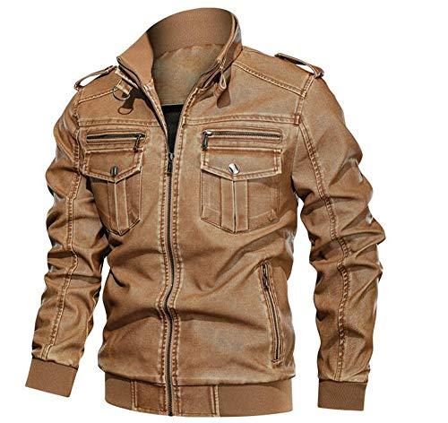 Herren Classic Retro Style Motorradjacke, Herren Leder Antik Washed Vintage Zip Biker Style Jacke