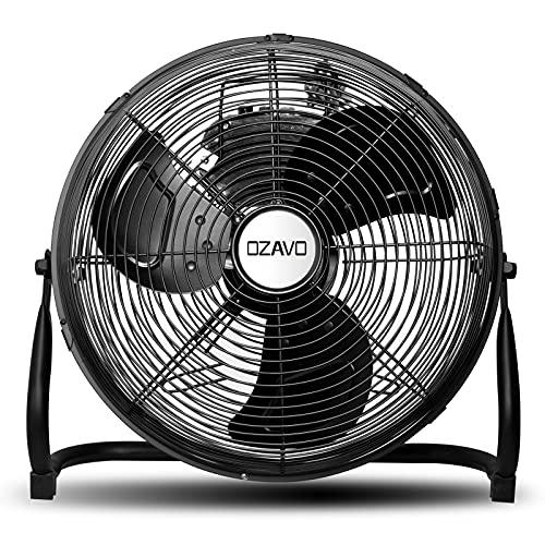 "OZAVO Ventilador de Suelo Industrial con Circulador de Aire, Diámetro de Hoja de 30cm (12""), 50W, 3 Aspas, 3 Velocidades, Motor de Cobre, Inclinación Regulable 110°, Patas Antideslizantes, Negro"
