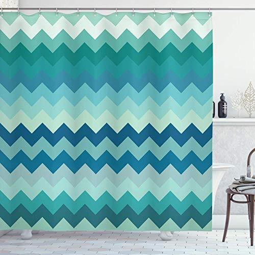 N\A Cortina de Ducha Chevron, líneas de diseño Aqua Colors Simplicity Illustration Symmetry Twist, Conjunto de decoración de baño de Tela con Ganchos, Verde Azulado Azul Marino