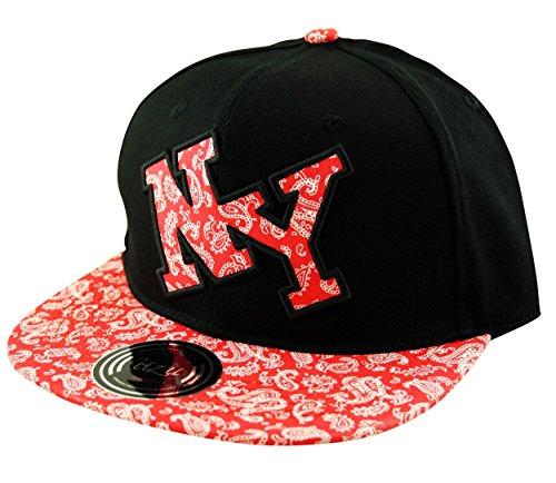 Itzu - Casquette de Baseball - Imprimé Cachemire - Homme noir noir/rouge Taille Unique