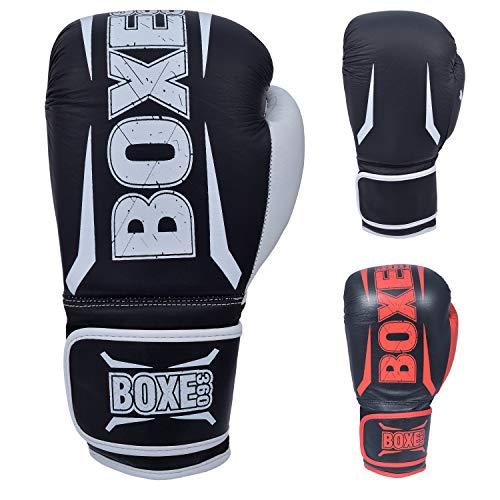 Twister Boxster Boxhandschuhe Muay Thai Training echtes Rindsleder Sparring Boxsack Handschuhe Kickboxen Kampf (schwarz/weiß, 400 g)