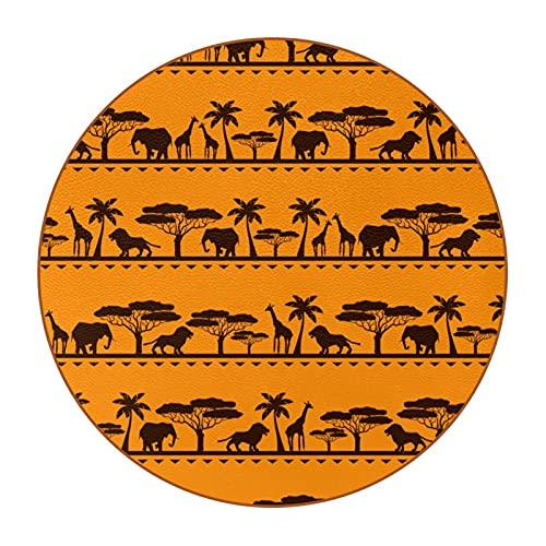 Posavasos para bebidas, de piel sintética, para bebidas, juego de 6 o amigos, hombres, mujeres, cumpleaños, inauguración de la casa, África, diseño étnico de animales salvajes