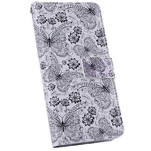 Ysimee Compatible avec iPhone 11 Pro Max Coque Portefeuille Magnétique en Cuir Motif Colorés Etui Multi-Usage Wallet Case avec Fentes de Cartes Poche Folio a Rabat Housse de Protection,Papillon Noir