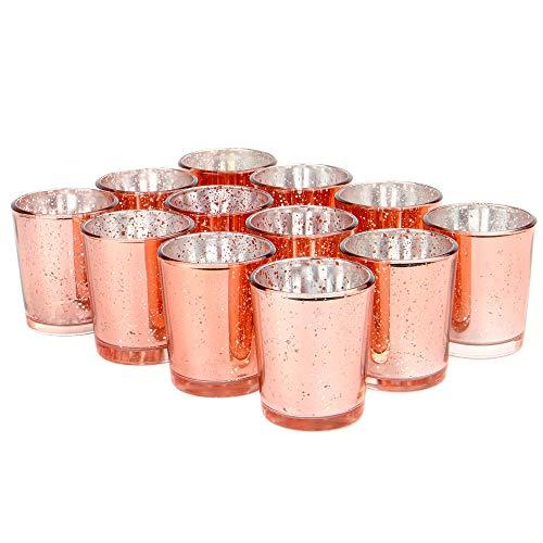 Set mit 12 gesprenkelten Teelichthaltern | Stilvolle Kerzenhalter aus Glas | Tisch & Heimtextilien | Moderne Wohnaccessoires | M&W (Roségold)