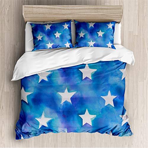 Funda De Edredón 3d Estampado Azul Estrella De Cinco Puntas Juego De 3 Piezas Microfibra Revestimientos De Cama Con 2 Fundas De Almohada Cierre De Cremallera ( Size : AU Queen 210x210cm(83'x83') )