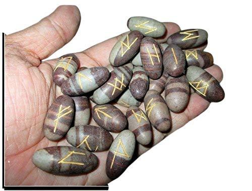 Marvelous Fantastic Narmada Lingam 25 Rune Stones Top Quality A++ Gemstones Elder Futhark Norse Handcrafted Handmade Agate Magic Crystal Engraved Letter Body Velvet Pouch Chakras Reiki Gift