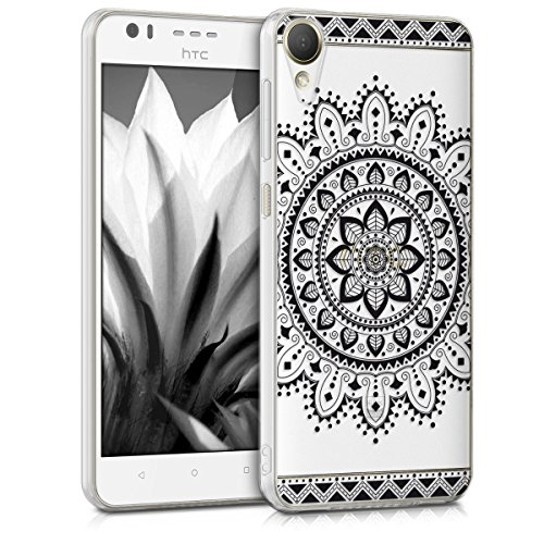 kwmobile HTC Desire 10 Lifestyle Hülle - Handyhülle für HTC Desire 10 Lifestyle - Handy Case in Aztec Blume Design Schwarz Transparent