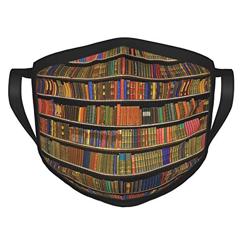 Books Bookshelf Face Masks, Washable and Reusable Black Border Balaclavas Bandana Protection Covering for Women and Men