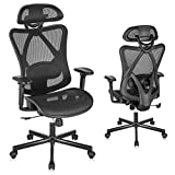 SUNNOW Ergonomic Office Chair, Mesh Computer Desk Chair with Adjustable Lumbar Support, Armrest, Headrest - High Back Executive Task Chair for Office, Home, Gaming