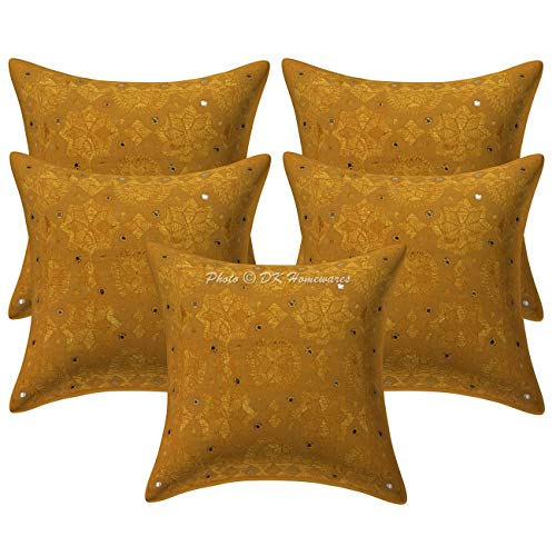 DK Homewares Indian 16 x 16 Decoración hogareña Mostaza Amarilla Funda De Almohada Algodón Bordado Luna Estrella Espejada Fundas De Almohada (40 x 40 cm ; Mostaza Amarilla) -Conjunto de 5 Piezas