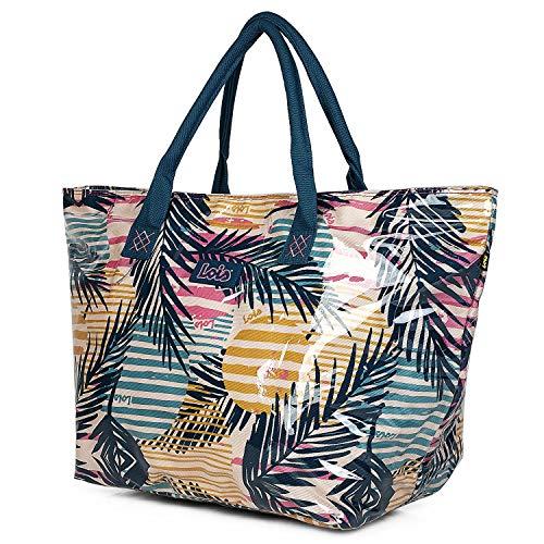 Lois - Strandtas met bedrukte canvashandvatten. Type Capazo Shopping Tote. Grote capaciteit Voor zomer winkelen. Goede kwaliteit en mooi design. Comfortabel en bestendig. 601003, Color Veelkleurig