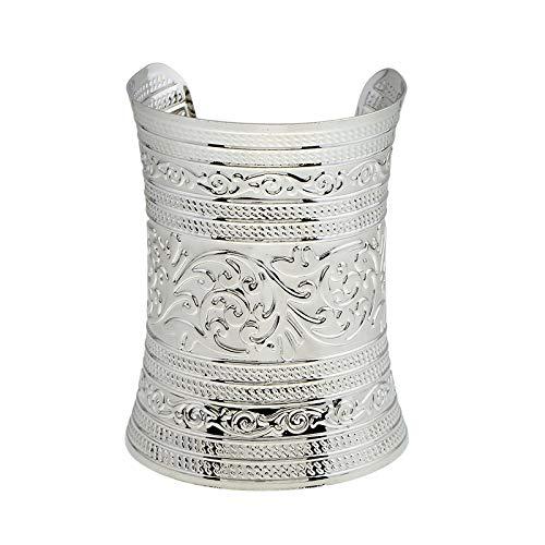 P Prettyia Damen Armband, Metall Offener Armreifen, Breite Armspange, Punk Armschmuck für Frauen Männer Geschenk Modeschmuck - Silber