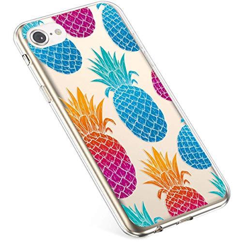 Uposao beschermhoes voor iPhone 6 Plus/iPhone 6S Plus, siliconen, transparant, met bloemenmotief, kristalhelder Ananas