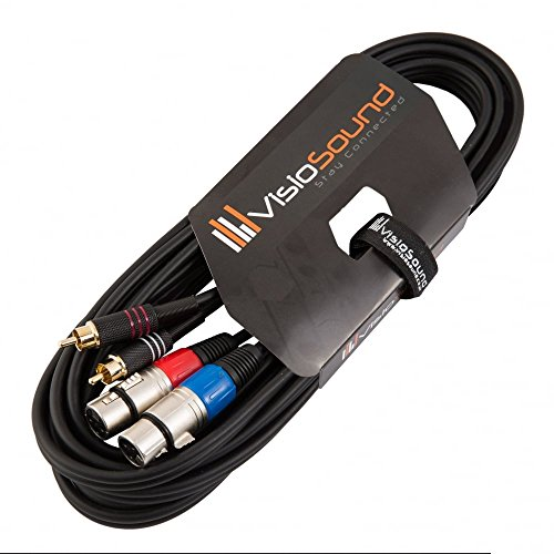 Twin Instrumentenkabel 2 x XLR 3-Polig Weiblich auf 2 x Cinch Stecker (RCA) / Audio Signalkabel 5m