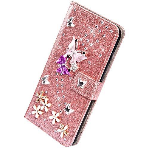 Herbests Compatible avec Samsung Galaxy S8 Plus Coque Portefeuille,Lux Glitter Diamant Papillon Etui de Protection en Cuir à Rabat Magnétique Porte Carte Flip Case Cover,Or Rose