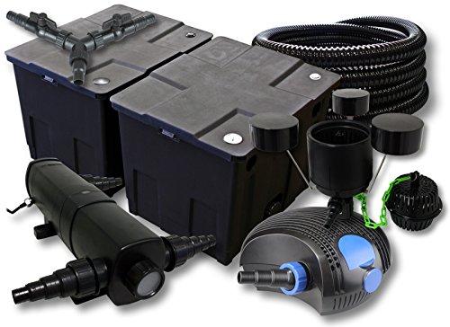 SunSun Filter Set für 60000l Teich mit 24W Teichklärer und 100W ECO Pumpe 25m Schlauch Skimmer