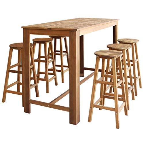 vidaXL Table et Tabourets de Bar 7 pcs Bois d'Acacia Massif Mobilier de Bar