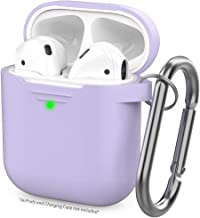 AhaStyle Upgrade AirPods Case Silicon Protective Cover [Front LED Visible] Compatible with Apple AirPods 2 and 1(Lavender)