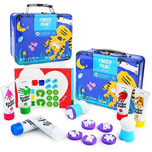 Jar Melo Finger Paint Kit for Toddler NonToxicWashable Paint Kids Paint SetPortable Iron Blue BoxArt Paint Suppliers Gift for Kids 6 Colors