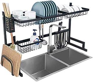 Marque Amazon – Umi Égouttoir à vaisselle économiseur d'espace pour la cuisine – 82,5 cm, acier inoxydable, noir