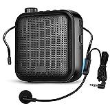 Elikliv Mini Amplificador de Voz, 12W Portátil Altavoz con Micrófono Alámbrico Auriculares 2000mAh Batería Incorporada para Enseñanza, Conferencia y Actividades al Aire Libre(T15)