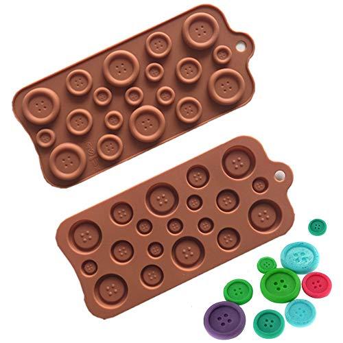 Nuluxi Silikon Knöpfe Schokolade Kuchen Form Button Form Kuchen Silikon Form Knöpfe Silikon Form Formen Geeignet für Kuchen Fondant Modelliermasse Blütenpaste Knete Gips Und Eiscreme usw(2 Stück)