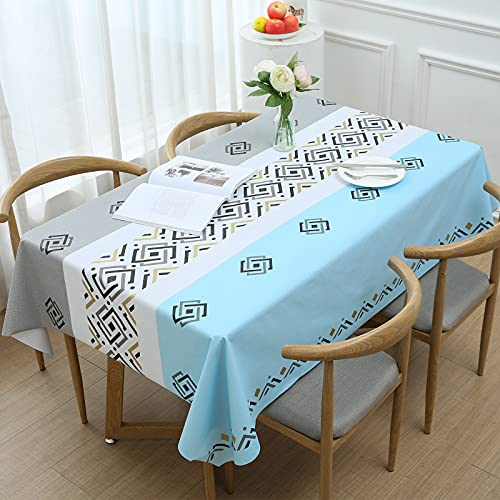 Aitsite Mantel Rectangular de PVC y Tela Oxford para Manteles de JardíN de Cocina y Sala de Estar, Multiusos, Impermeable y Lavable, (140 X 220 Cm, Blanco)