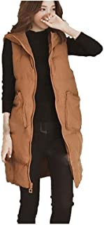 Womens Long Gilets Jacket Hooded Quilted Vest Waistcoat Body Warmer Casual Zip Up Sleeveless Down Coat Parka Outwear