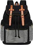 Canvas School Backpack Women College Bookbag Girls Travel Rucksack 15.6Inch Laptop Bag (Black...