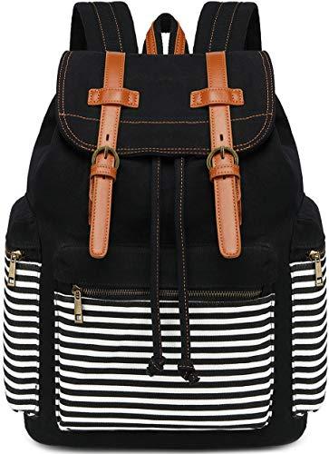 Canvas School Backpack Women College Bookbag Girls Travel Rucksack 15.6Inch Laptop Bag (Black Stripe)