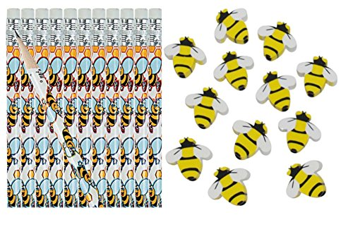 Bumble Bee Pencils and Erasers- 24 Piece Set