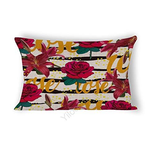 Funda de cojín rectangular de 35,5 x 60,9 cm, para cama, sofá, coche, decoración del hogar, diseño de rosas y lirios, #70