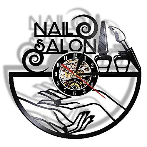 Salón de uñas Manicura Récord de Vinilo Reloj de Pared Salón de Belleza Decoración de Pared Reloj de Pared Muro de Polaco Reloj de Colgante Regalos para su manicurista-con led